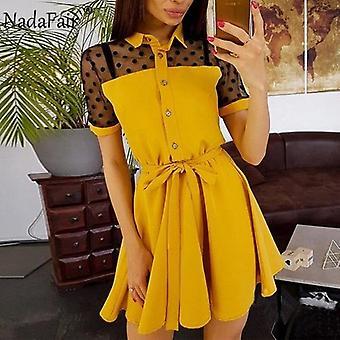 Mesh Patchwork Mini Summer Dress
