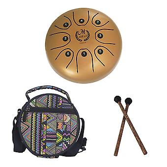 Steel Tongue Drum Happy Drum Forget Worry Drum Empty Drum 5.5 Inch Toy for Kids Adult Wooden Drum Stick with National Style Drum Bag