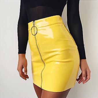 Women Fashion Sexy High Waist Circle Zipper Shiny Skirts