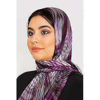 Kvinnor's siden satin huvud halsduk i lila tryck