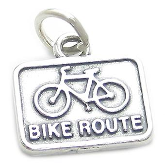 Bike Route Sign Sterling Silver Charm .925 X 1 Bicycle Biking Bicycles - 3923
