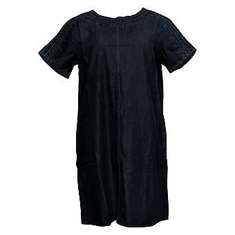 Martha Stewart Dress Short Sleeve Denim Shift Indigo A307752