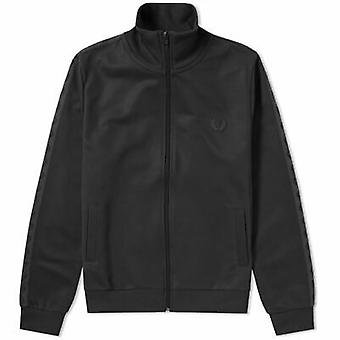 Fred Perry Tonal Taped Men's Track Jacket Top J3524-102 Black