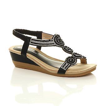 Ajvani Womens mid wedge heel diamante t-bar beads elastic slingback sandals