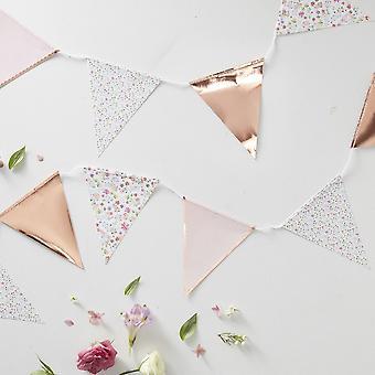 Floral Ditsy Bunting avec Polka Dot Rose or 3,5 m fête de mariage