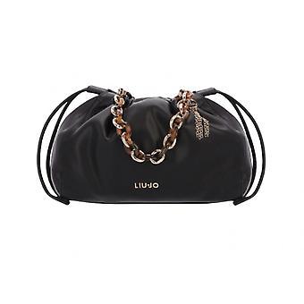 Liu-jo Drawstring M Black Faux Leather Bag Bs21lj88 Aa1279