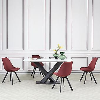4x Red Velvet Tulip Style Dining Chair