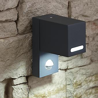 Black Square Up or Down Outdoor Security Wall Light Built-In PIR Motion Sensor