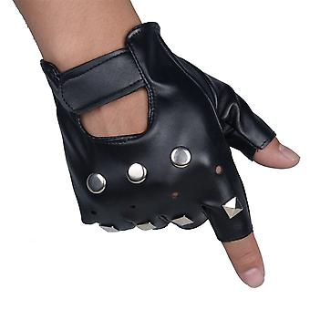 Short Half Finger Gloves For Men Club Performance Rivet Gloves Black