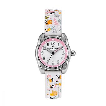 LuluCastagnette Girl Watch - white and pink dial - white bracelet with patterns