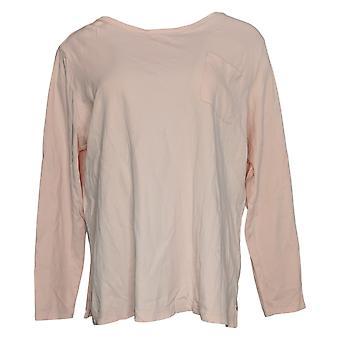 Isaac Mizrahi En vivo! Women's plus top bolsillo manga larga punto rosa A389173