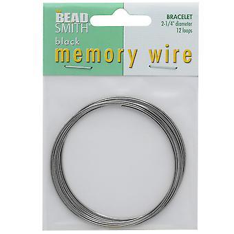 Memory Wire, Armbånd Runde Størrelse Medium 2,25 tommer Diameter, 12 Loops, Gun Metal Belagt