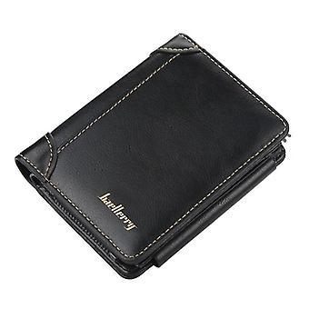 أسود الجلود الرجال محفظة زيبر بطاقة قصيرة حامل محفظة الرجال ريترو عملة محفظة (12cm * 10cm * 2.5cm)