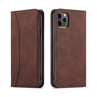 Flip folio leather case for iphone x/xs dark brown pns-4422