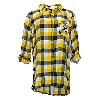 NFL Women's Top Women's Breakout Flannel Tunic Shirt Yellow A387691