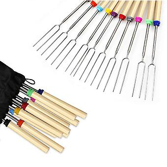 8 Pcs bbq marshmallow roasting sticks telescoping forks with wooden handle cai1655