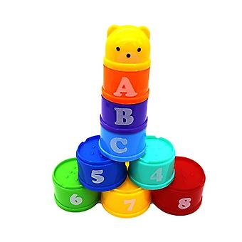 Montessori Baby Infant Toddler Stack Cup Tower Figures Letters Educational Baby