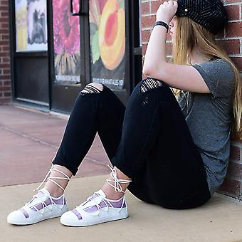 Brinley Co. Womens Hiro Faux Leather Mesh Athleisure Ankle Wrap Strap Sneakers