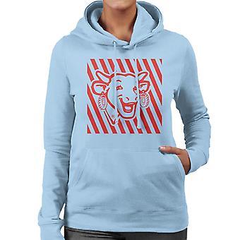 Den grinende Cow Red Stripes Kvinders Hætteklædte Sweatshirt