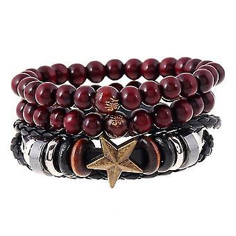 Retro Cowhide Hemp Multiplayer Leather Bracelet Wood Beads Star Men's Wristhand