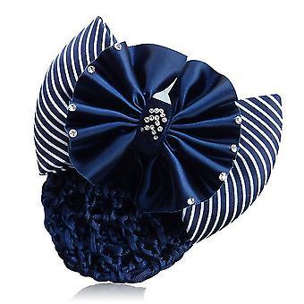 Ribbon Bowknot Net Bun Snood Hairpin Hair Clip For Women