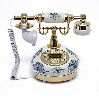 Vintage Dail Button Phone  Chinese Procelain Style Old Fashioned Handset Telephone  Tc-515
