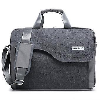 17.3 Inch Laptop Bag Nylon Shoulder Bag with Strap Multicompartment Messenger Hand Bag(gray)