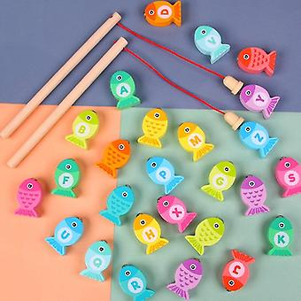 Baby Wooden Toys Digit Alphabet Magnetic Fishing Toys Game Puzzle ToysGifts|Fishing Toys