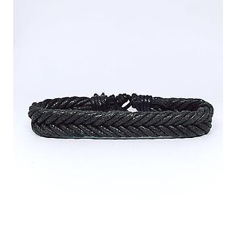 Bracelet simple fait à la main dans un motif à chevrons tout en ruban noir