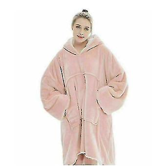Oversized Fleece Plush Sherpa Blanket Styled Pullover With Hoodie(Pink)