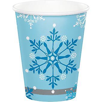 スノーフレークペーパーカップ - 冷凍/プリンセステーマバースデーパーティー x 8