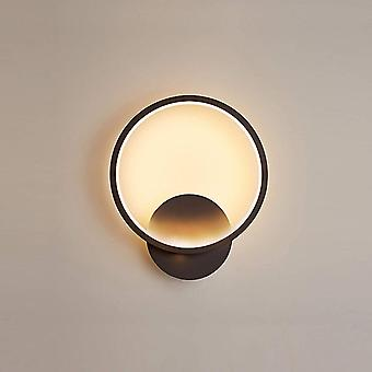 Indoor Wall Lamp Warm Light Round Aluminum Material Suitable For Living Room Staircase Corridor Black