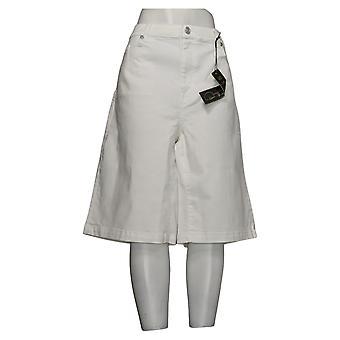 DG2 by Diane Gilman Women's Plus Shorts Wide-Leg Bermuda White 746089