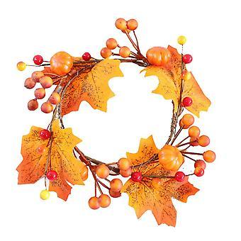 Kiitospäivän koristeet etuovelle kurpitsat keinotekoiset vaahterat lehdet seppele