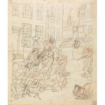 William Hogarth - The First Stage of Cruelty Sketch Poster Print Giclee
