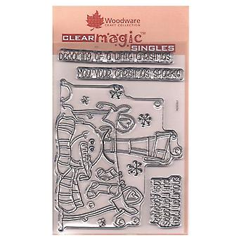 Woodware Clear Stamps Top Hat Snowman 4 Set *^^