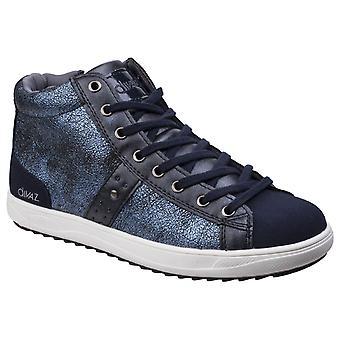 Divaz Womens Steffy Metallic Sneaker Boot Navy