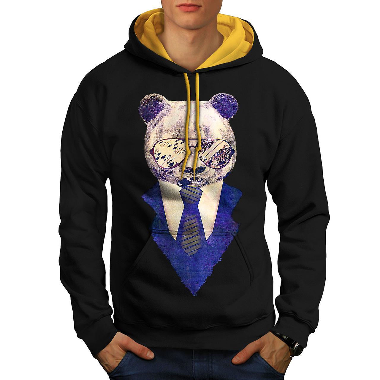 Businessman Panda Men Black (Gold Hood)Contrast Hoodie | Wellcoda
