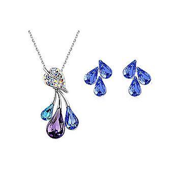 Vomens šperky Set květinový listový Náhrdelník přívěsek a náušnice BG1486