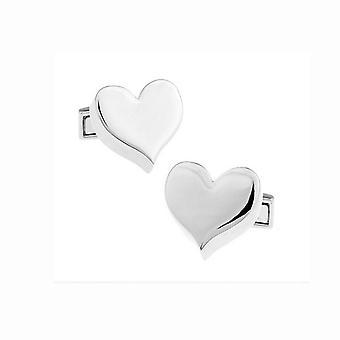 Herren Damen Hemd Manschettenknöpfe Silber Herzensliebe glatt Freund vorhanden