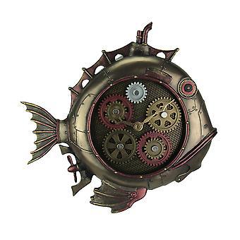 Estilo steampunk peixe submarino do relógio de parede