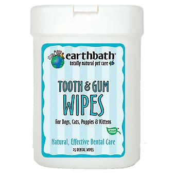 Earthbath Natural Tooth & Gum Dental Care Cleaning Lingettes for Pets - Pack de 25