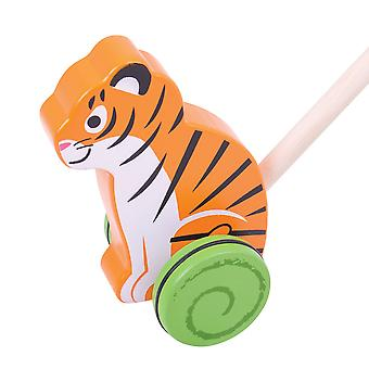 Bigjigs Toys Wooden Tiger Push Along Walker Walking Mobility Baby Toddler