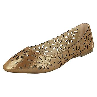 Ladies Spot On Flower Cut Out Ballerinas F80390 - Rose Gold Synthetic - UK Size 8 - EU Size 41 - US Size 10