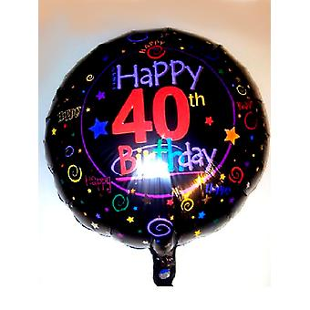 Palloncino foil 40th BIRTHDAY Black