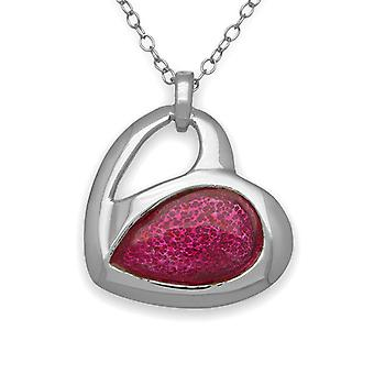 Sterling Silver Scottish Hearts Passion Pink Enamel Hand Crafted Necklace Pendant - EP372