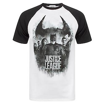 Justice League Mens Character Line Up Raglan T-Shirt