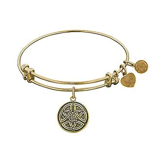 Smooth Finish Brass Celtic Round Knot Angelica Bangle Bracelet, 7.25""