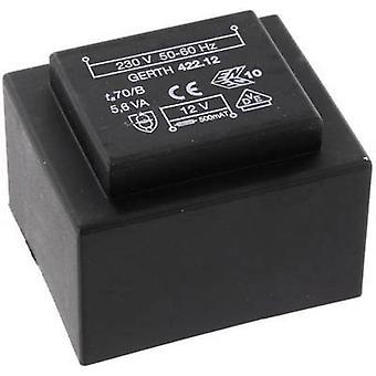 Gerth PTB424802 PCB mount transformer 1 x 230 V 2 x 24 V AC 5.60 VA 116 mA