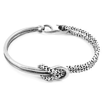Anchor & Crew White Noir Tay Silver and Rope Half Bangle